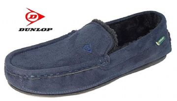 Dunlop  'LEWIS' Moccasin Slippers NAVY BLUE